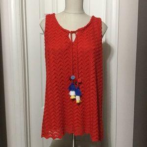 Rafaella red top with tassels